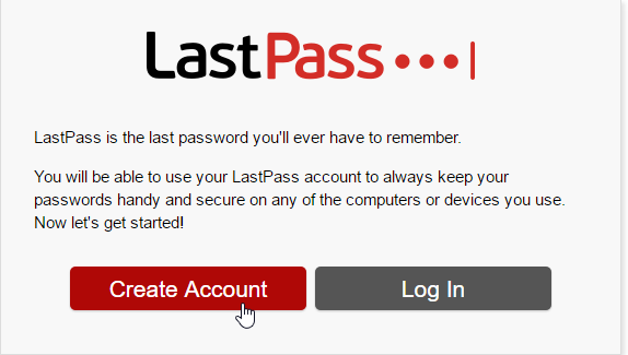 make an account of lastpass