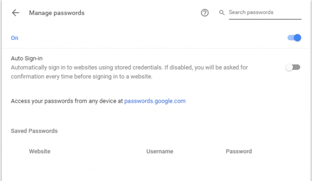 google chrome inbuilt password manager