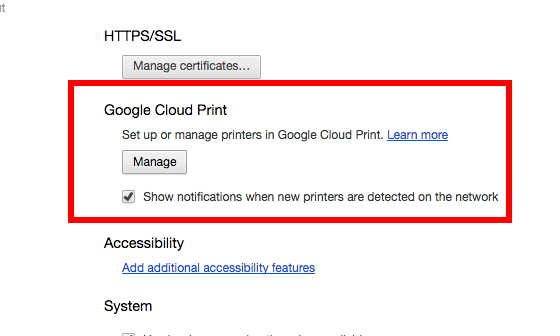 google cloud print manage