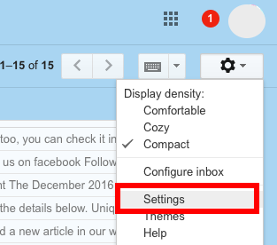 Gmail settings top right