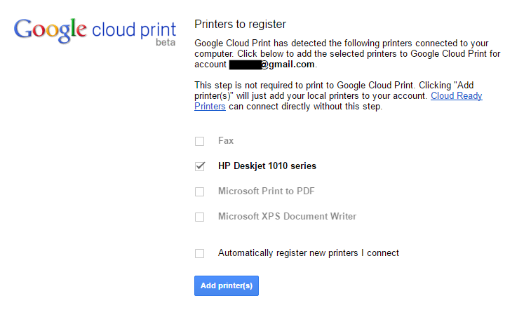 printers to register on google cloud