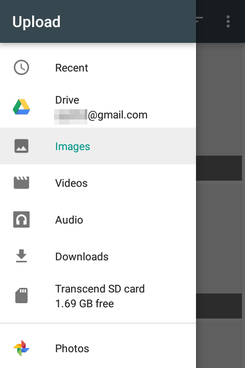 google drive file upload pick the source