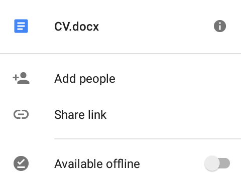 google drive file available offline