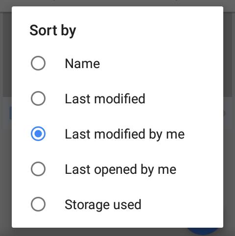google drive sorting