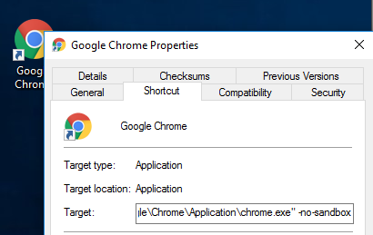 chrome disable sandbox mode