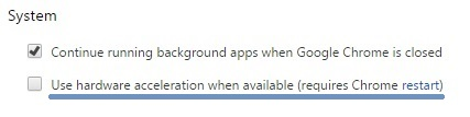 disable chrome use hardware acceleration when available