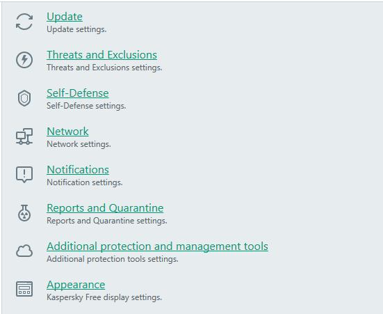 additional settings kaspersky antivirus guard