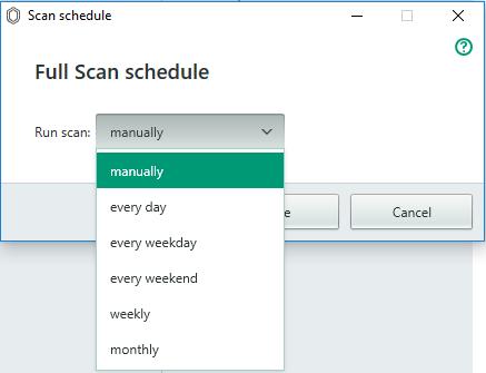 schedule kaspersky free antivirus scanning
