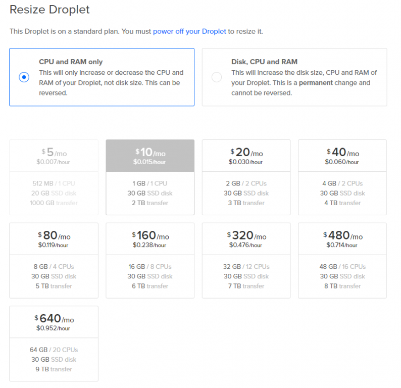 DigitalOcean resize droplets