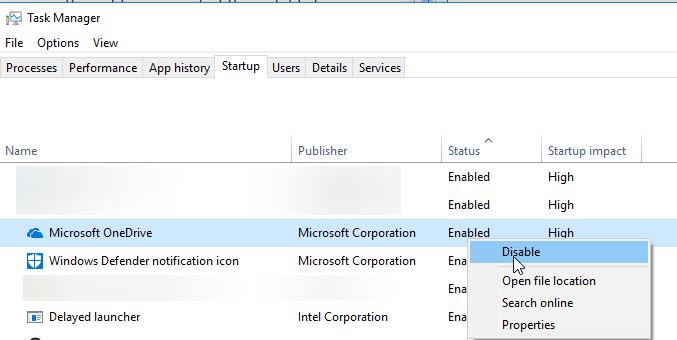 startup applications disable through task manager
