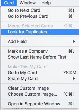 Contacts>Card>Look For Duplicates:Mac