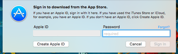 Apple ID and Password Required to Download from the App Store
