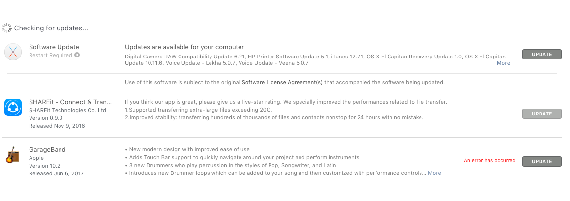 update apps on OSx