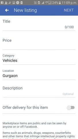 new listing on fb marketplace