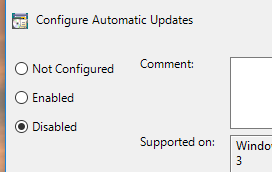 disable windows 10 automatic updating with group policy