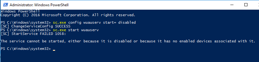 disable windows 10 updating with powershell