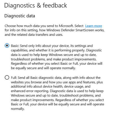 windows 10 diagnostics and feedback
