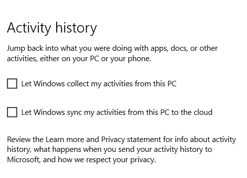 windows 10 activity history