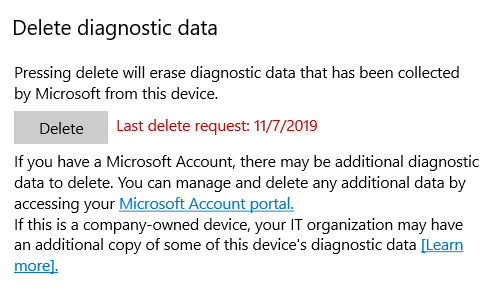 windows 10 diagnostics and feedback, delete private data