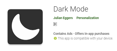 Dark mode app playstore